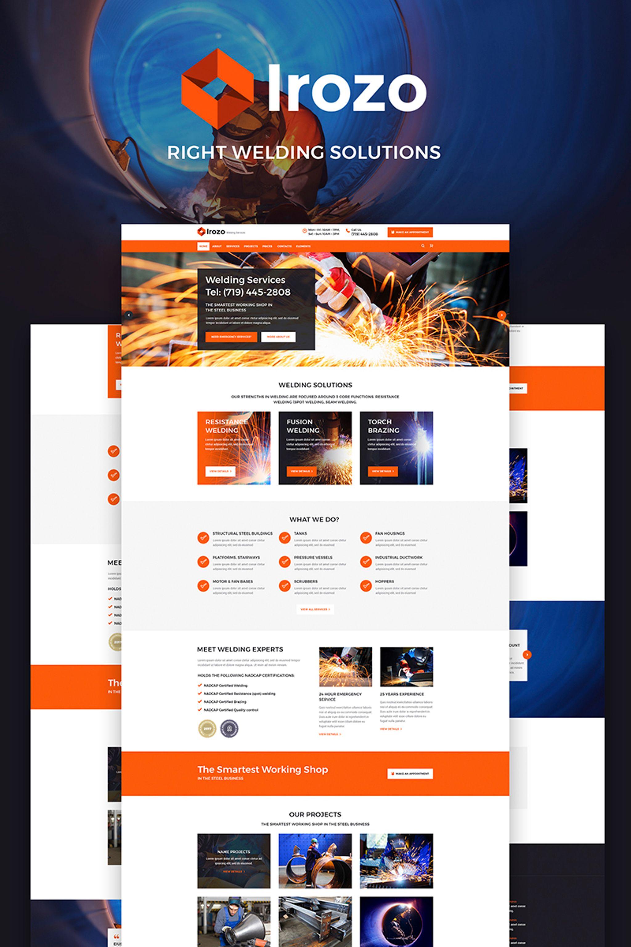 Responsivt Irozo - Welding Services WordPress-tema #65888 - skärmbild