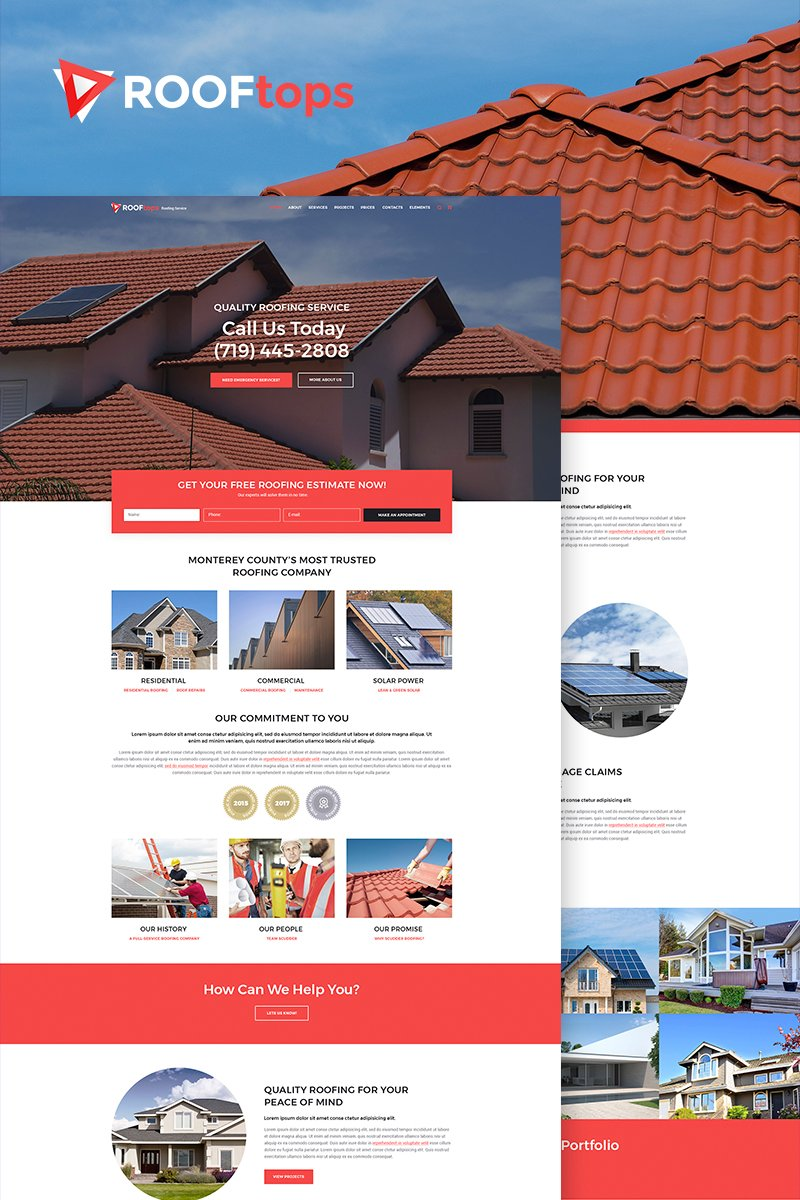 Responsywny motyw WordPress ROOFtops - Roofing Service #65855