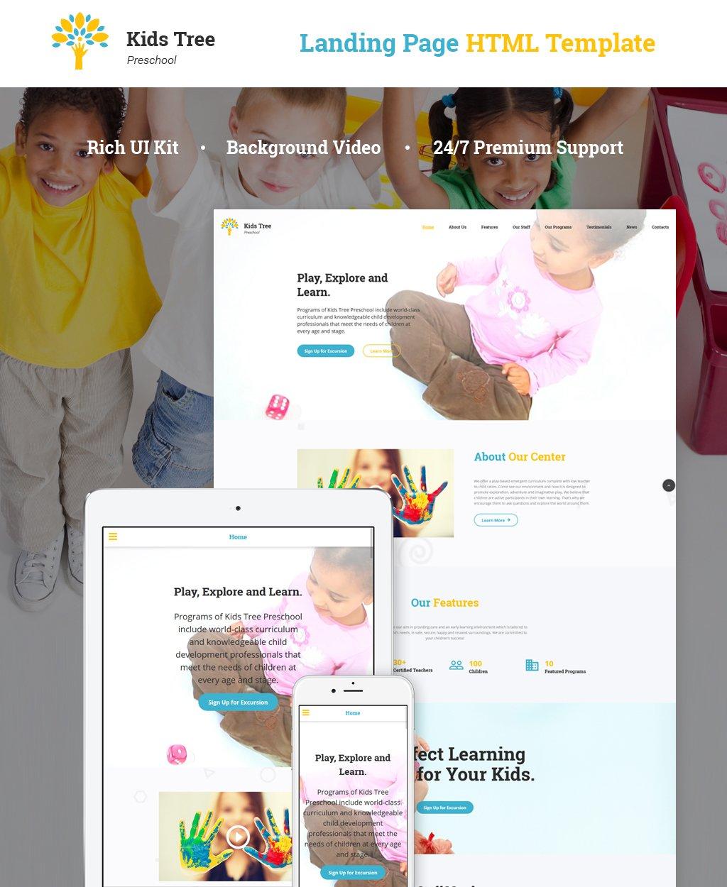 Reszponzív Kids Tree Preschool Nyítóoldal sablon 65801