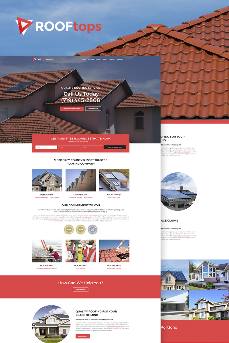 """""""ROOFtops - Roofing Service"""" Responsive WordPress thema №65855"""