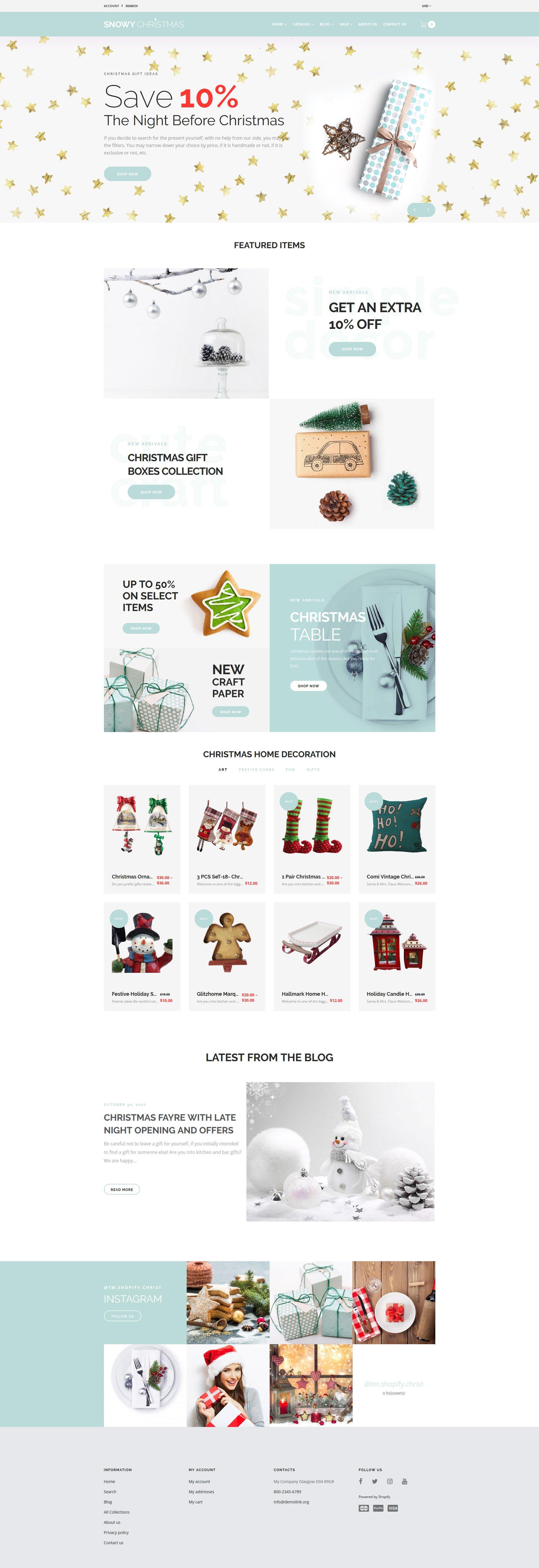 "Shopify Theme namens ""Snowy Christmas - Christmas Gifts"" #65816"