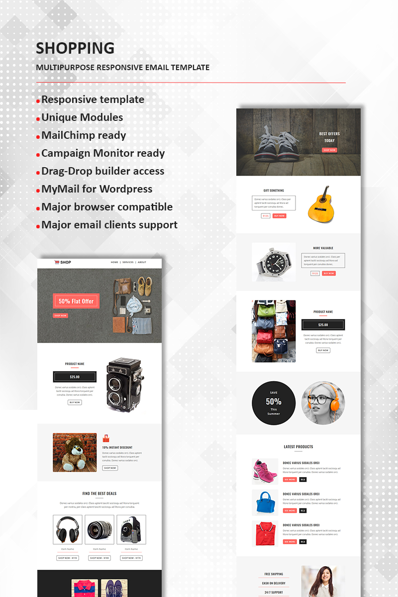 """Shopping - Multipurpose Responsive"" Responsive Nieuwsbrief Template №65841"