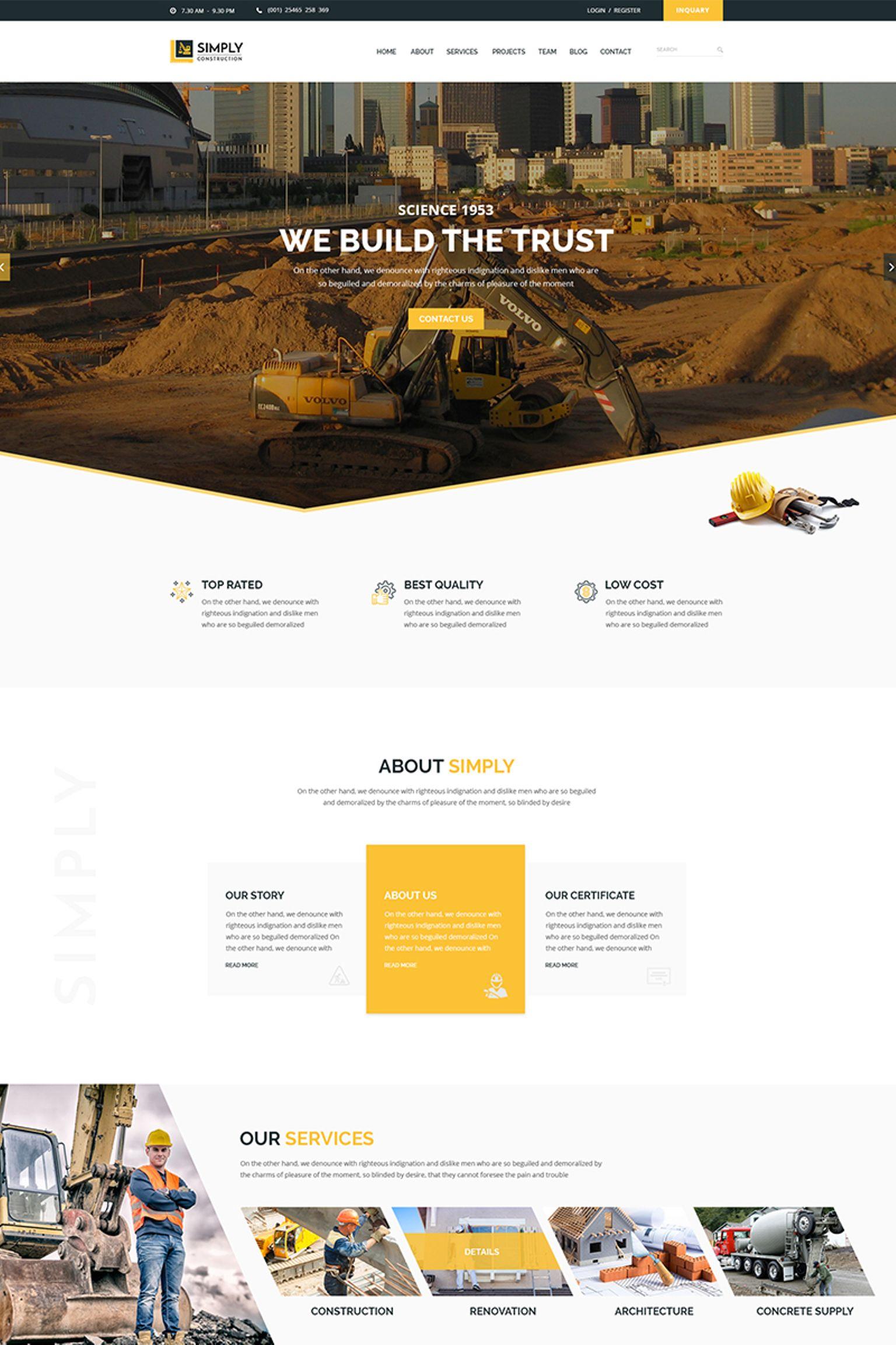 """Simply Construction"" 响应式网页模板 #65882"