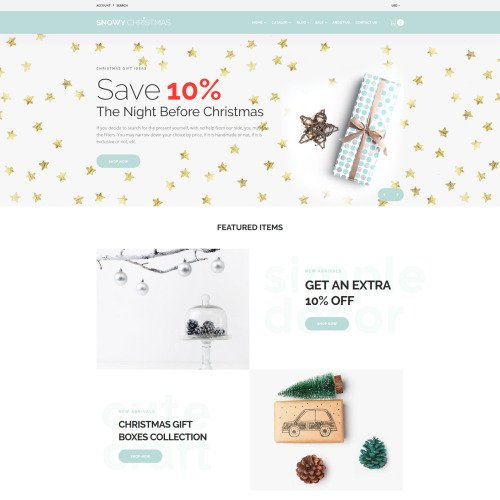 Snowy Christmas - Christmas Gifts - Shopify Template based on Bootstrap