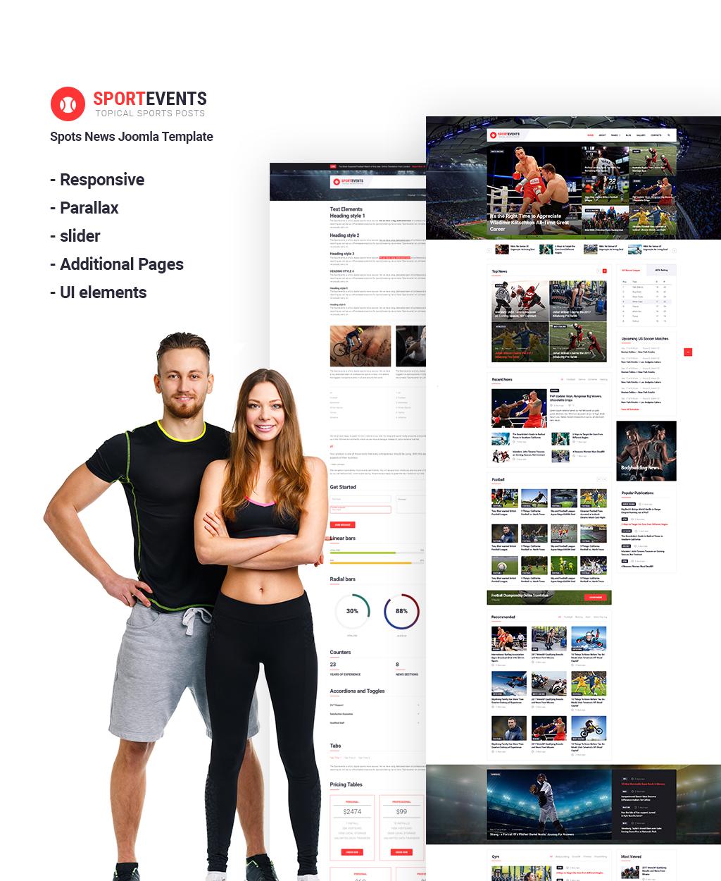 """Sport Events - Sports News"" Responsive Joomla Template №65818"