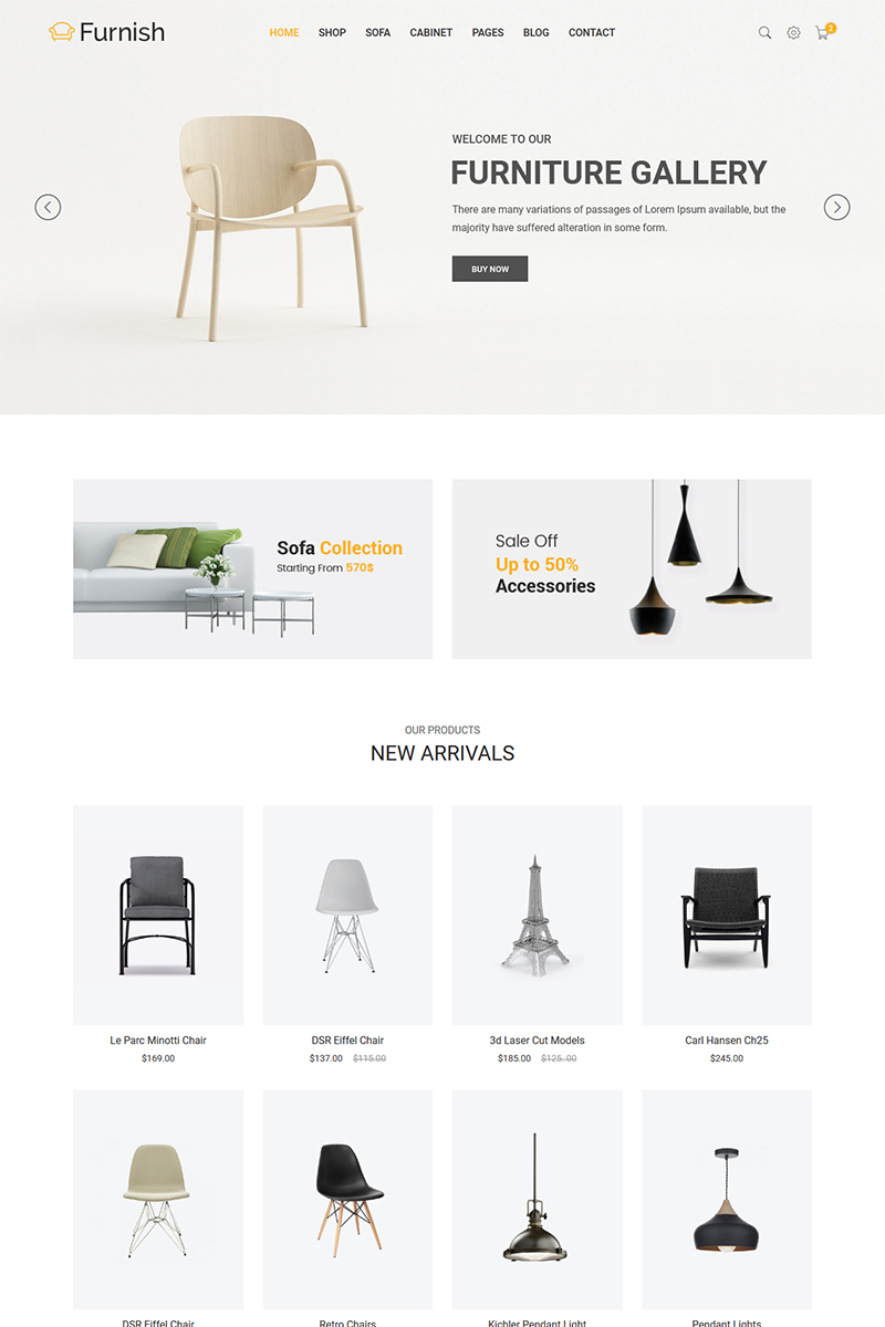 "Tema Siti Web Responsive #65859 ""Furnish - Minimalist Furniture"""