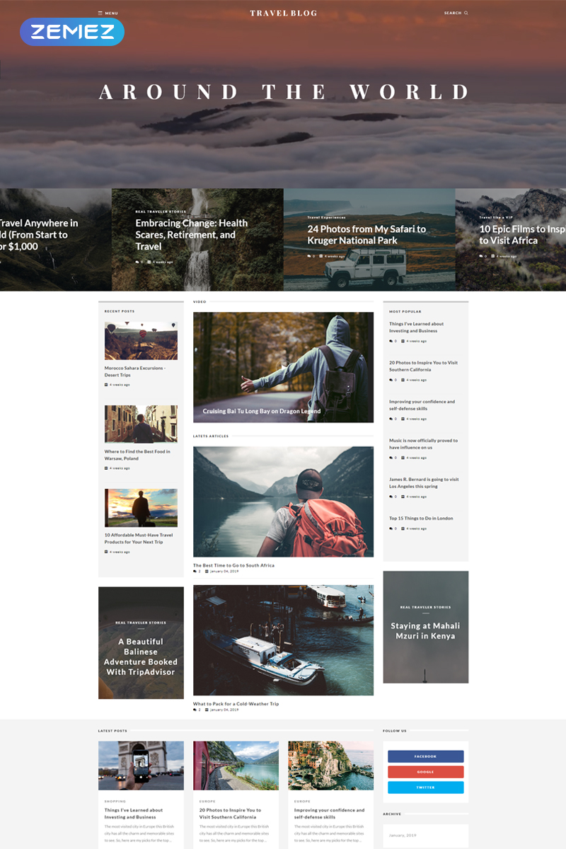 """TravelBlog - Travel Guide"" - адаптивний Joomla шаблон №65847"