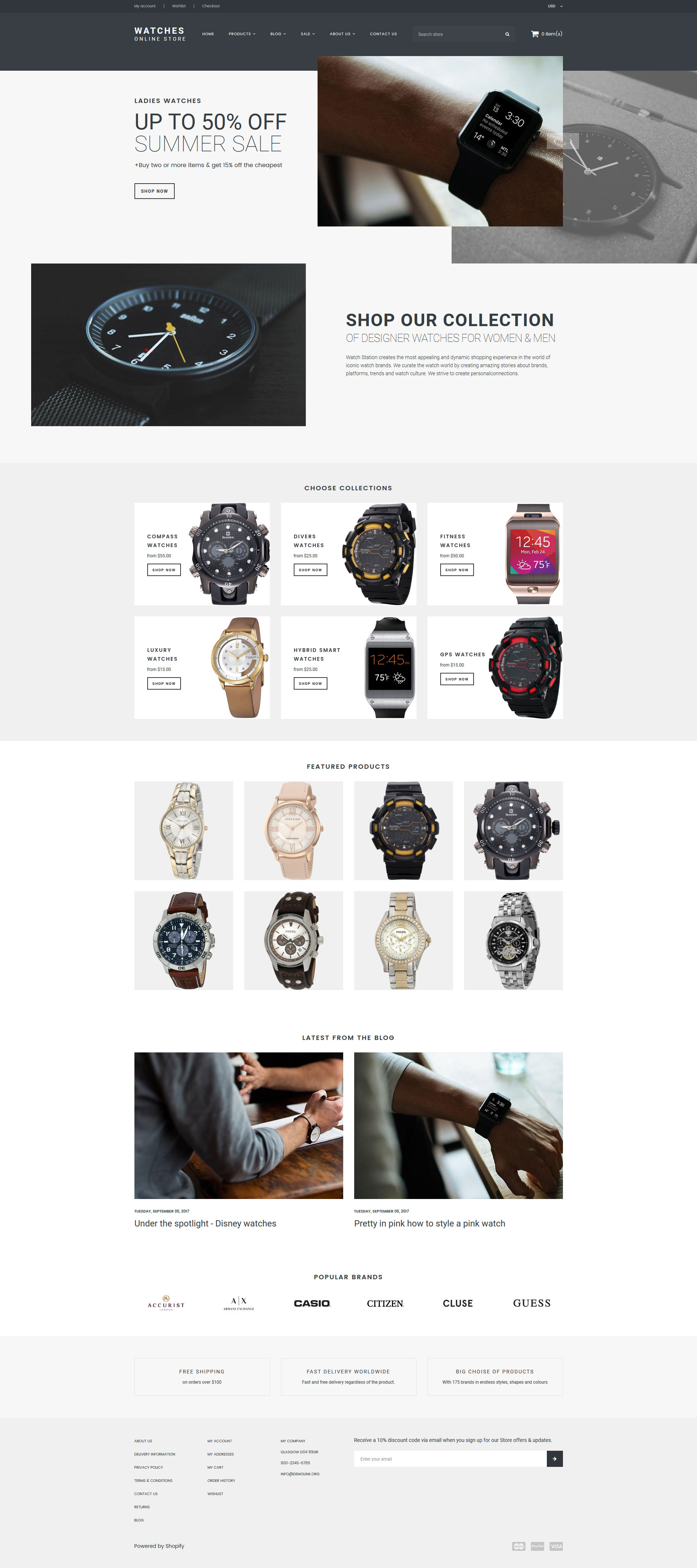 """Watches - Online Store"" - адаптивний Shopify шаблон №65812"