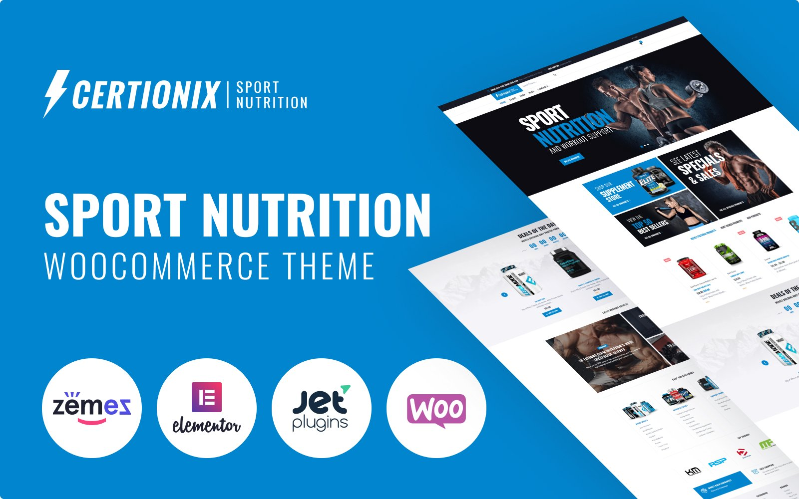 """WooCommerce Theme namens """"Certionix - Sport Nutrition Website Template with Woocommerce and Elementor"""" #65870"""