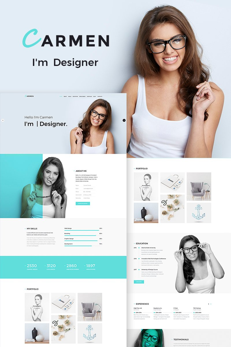 "WordPress Theme namens ""Carmen Design Portfolio"" #65886"