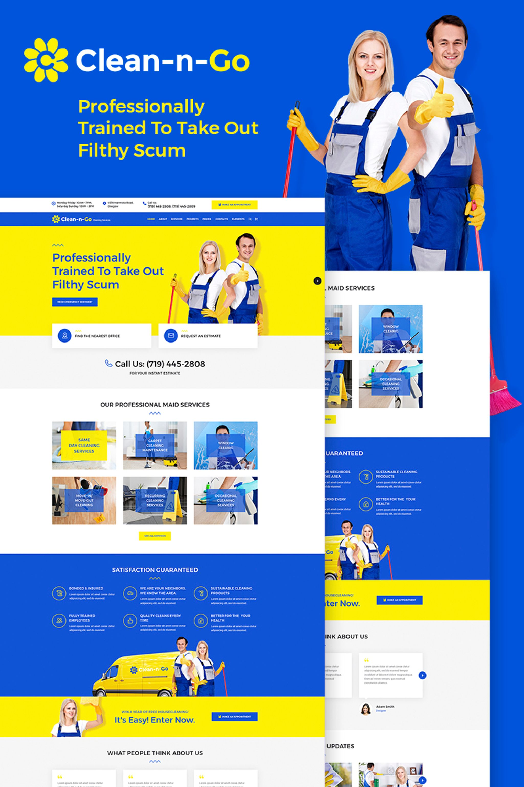 """WordPress Theme namens """"Clean-n-Go - Cleaning Services"""" #65871"""
