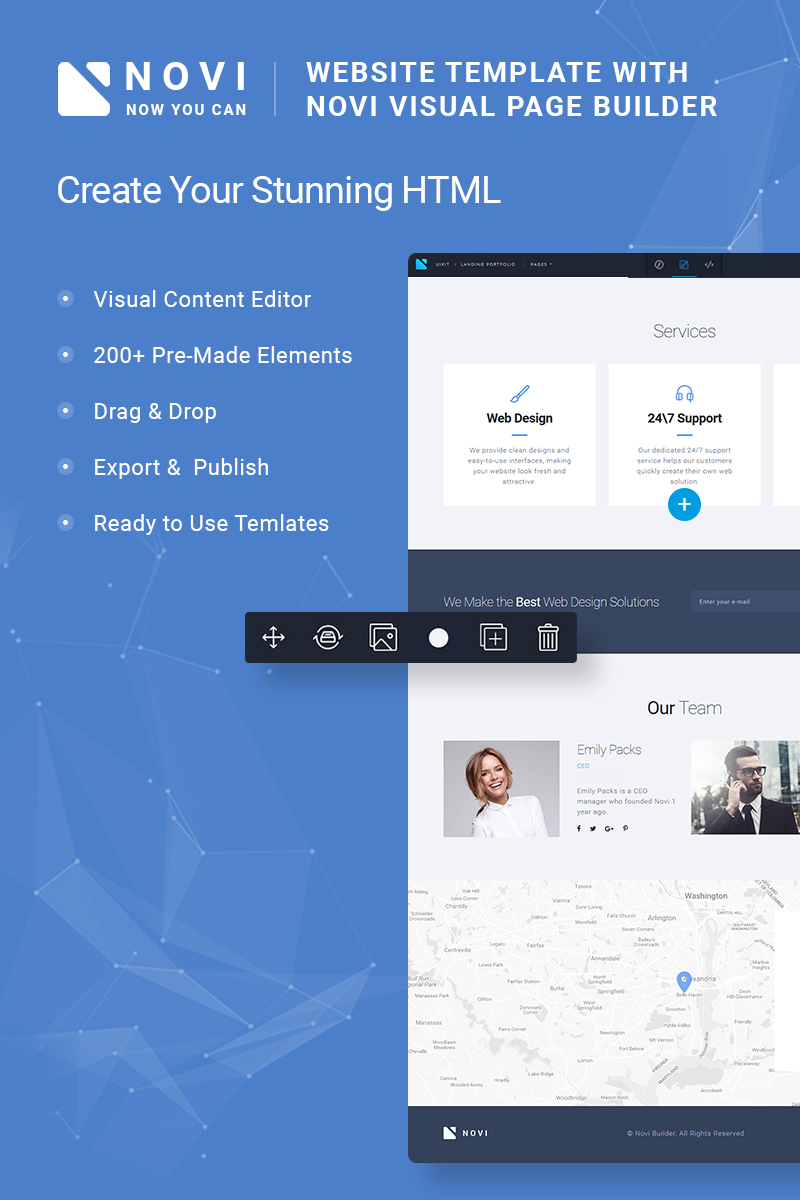 Website Design Template 65992 - builder novibuilder business kit html page visual editor servise agency design advertising plugin marketing