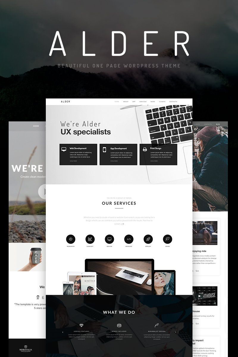 """Alder - OnePage"" Responsive WordPress thema №65922"