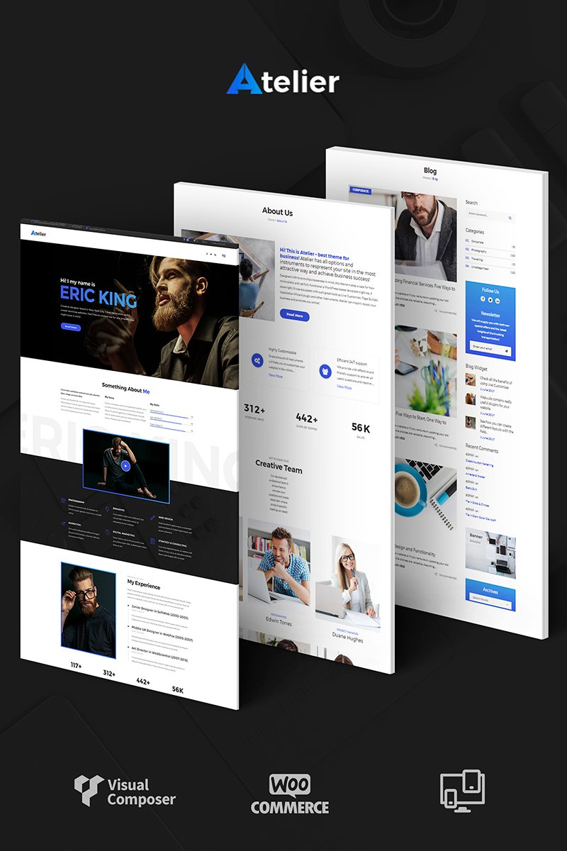 """Atelier Design & Photography Template"" WordPress thema №65989"