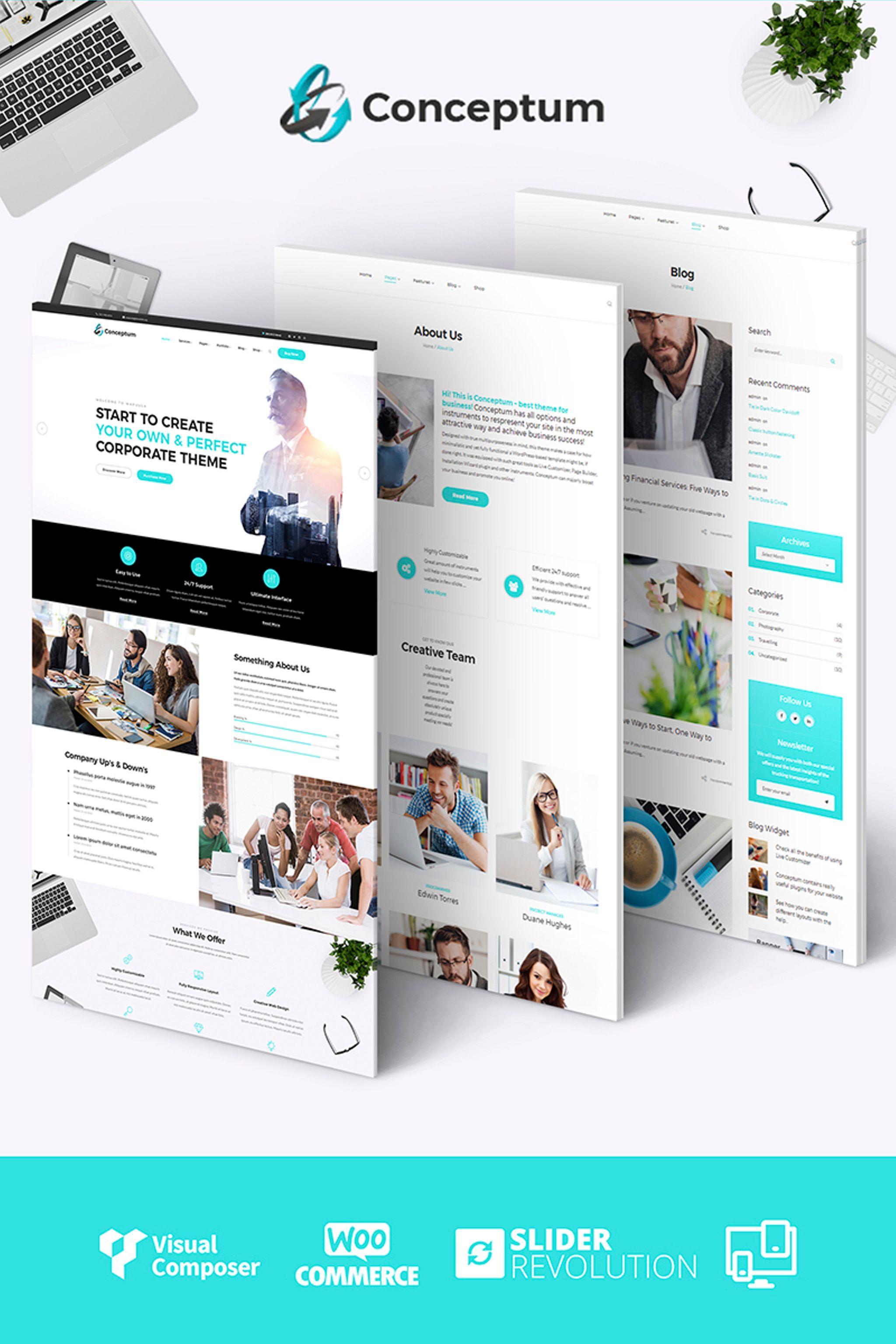 """Conceptum - Corporate Responsive"" - адаптивний WordPress шаблон №65934 - скріншот"