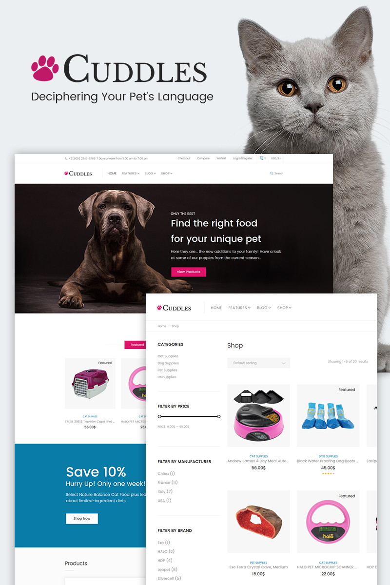 """Cuddles - Pet Shop"" thème WooCommerce  #65909"