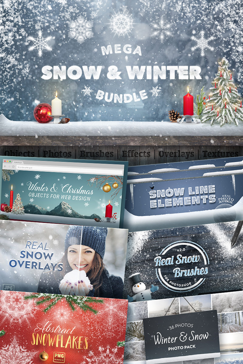 "Elementos De IU ""Mega Snow and Winter Bundle"" #65945"
