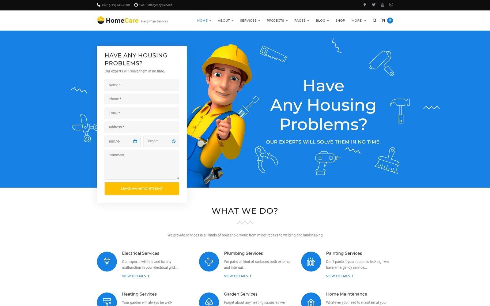 """HomeCare - Handyman Services Responsive"" WordPress模板 #65957"