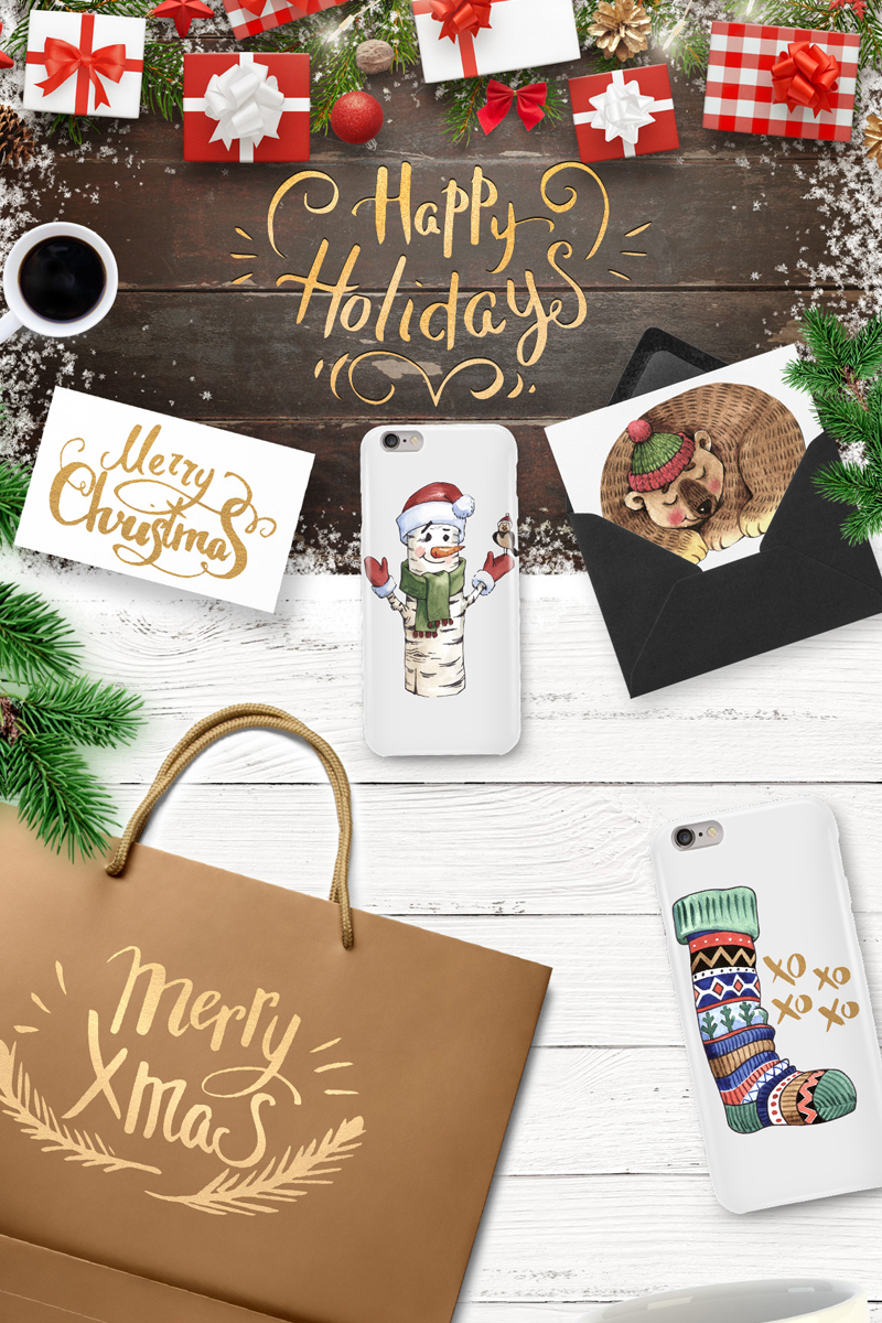 """Ilustrace """"Merry Christmas and Happy Holidays"""" #65933"""