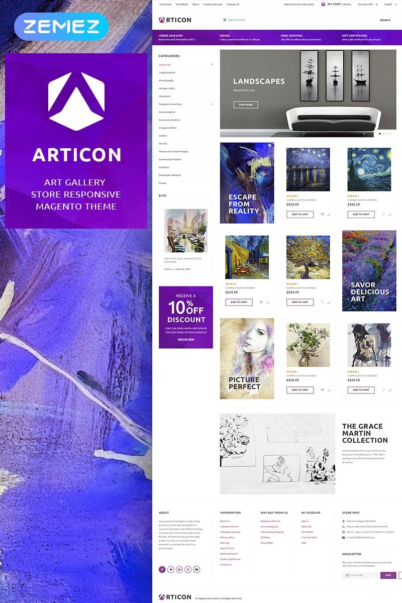 """Magento Theme namens """"Articon - Art Gallery Store"""" #65949"""