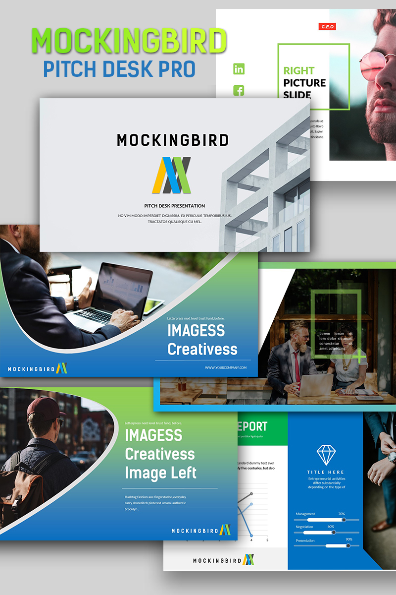 "Modello PowerPoint #65912 ""Mockingbird Pitch Desk Pro"""