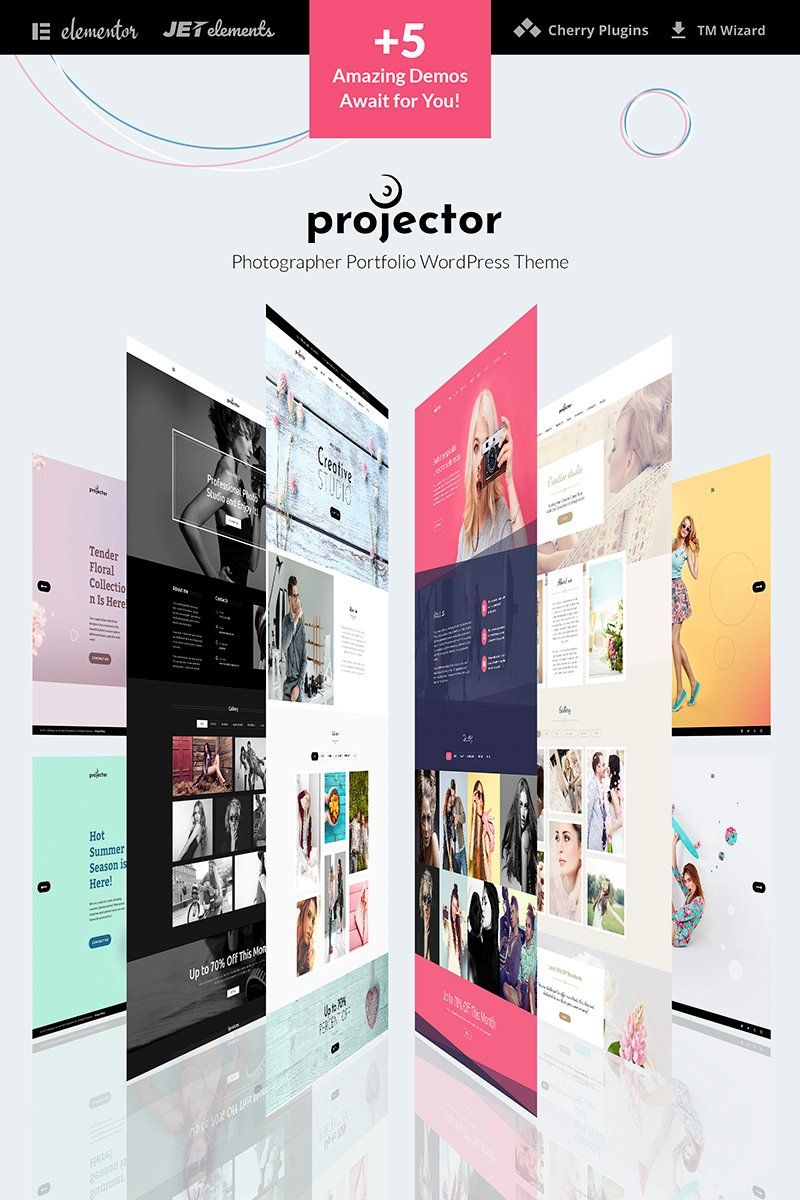 Motyw WordPress Projector - Photographer Portfolio Multihome #65915 - zrzut ekranu