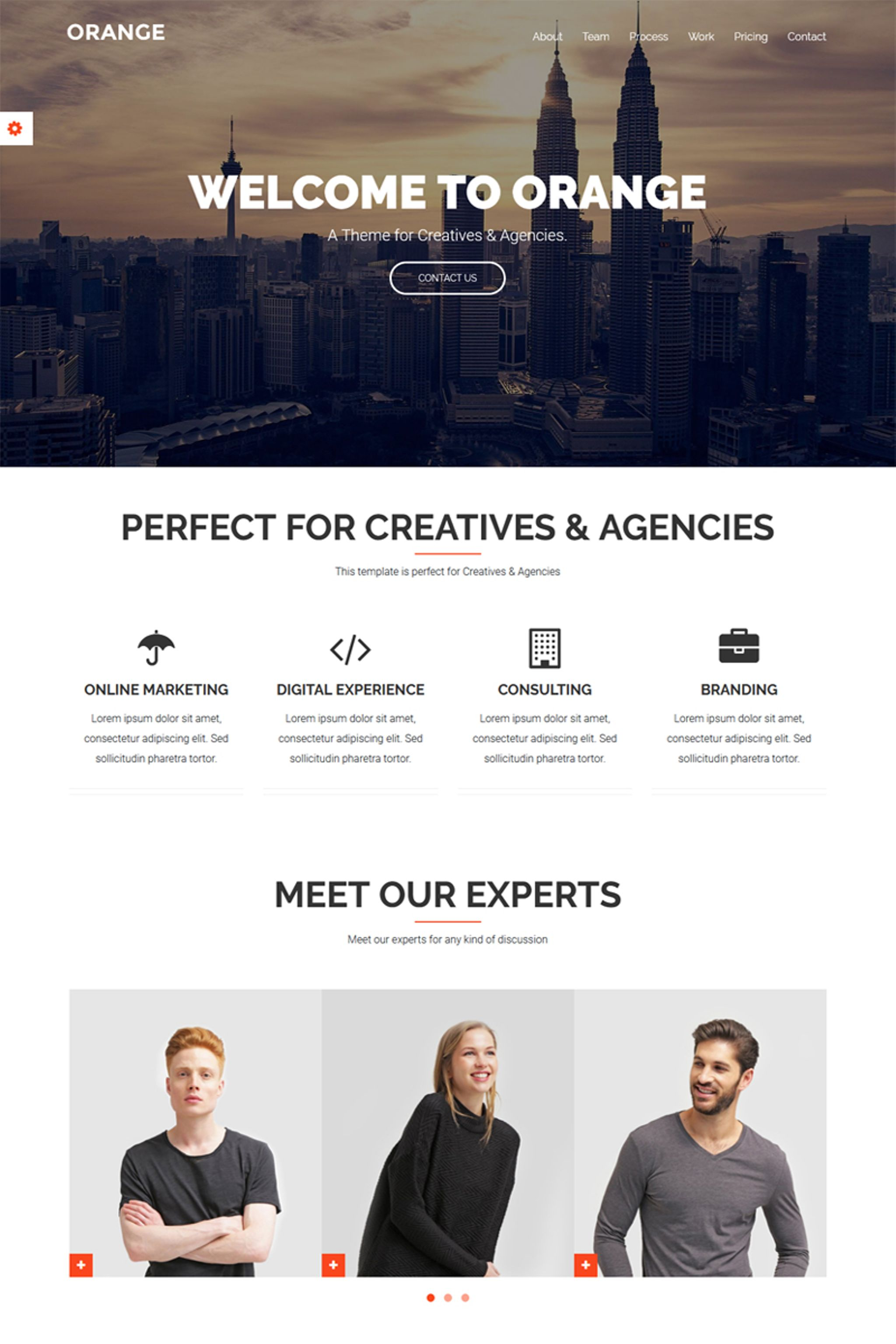 Orange - One Page Bootstrap Theme Website Template
