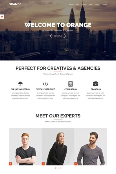 Orange - One Page Bootstrap Website Template #65911