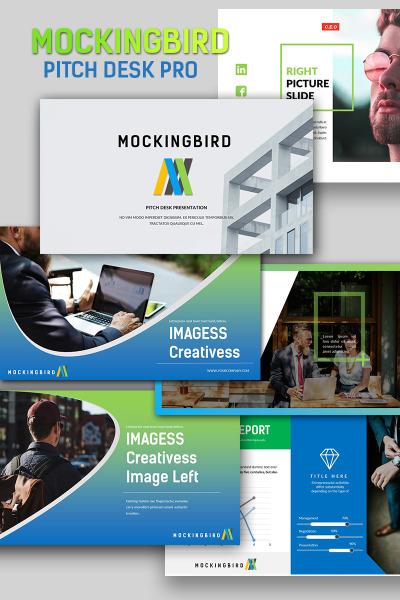 """PowerPoint Vorlage namens """"Mockingbird Pitch Desk Pro"""" #65912"""