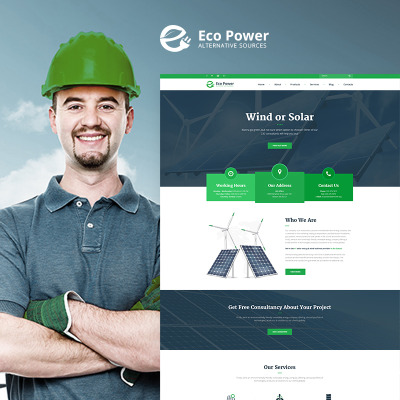 Wind Energy Responsive WordPress Teması