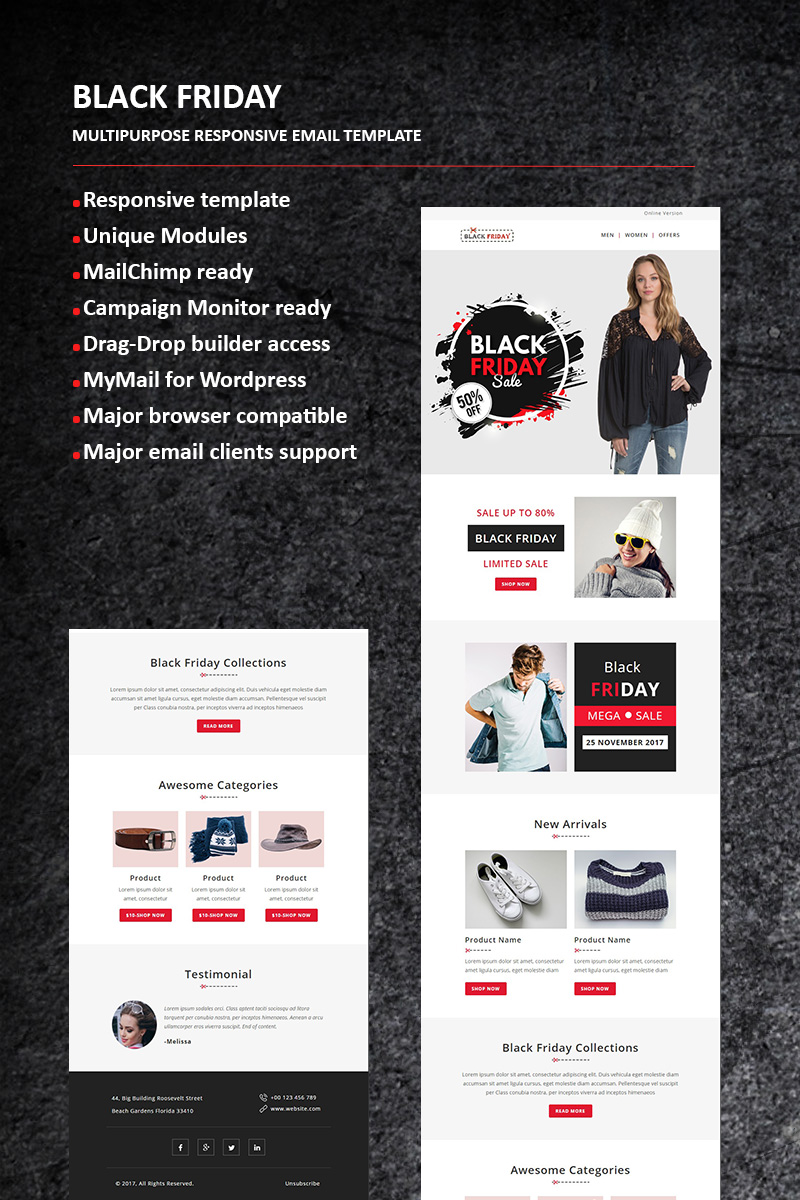 "Responzivní Newsletter šablona ""Black Friday - Email"" #65984"