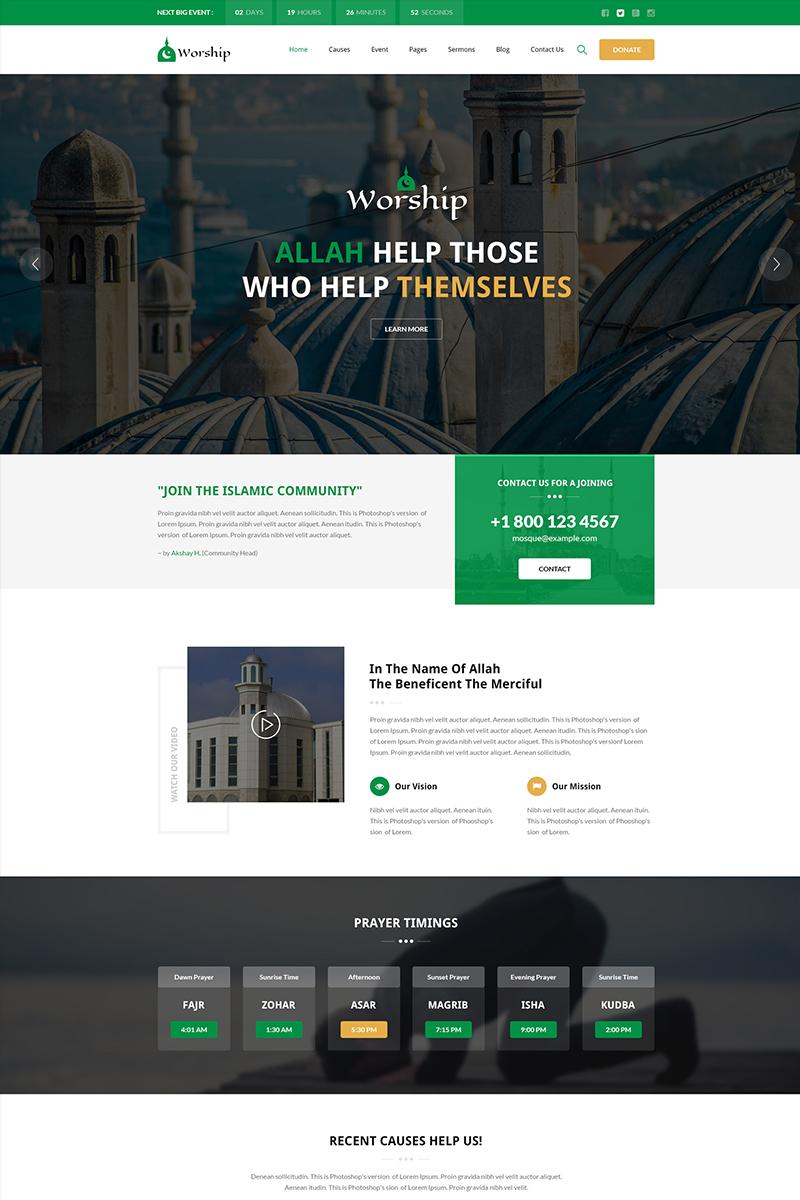 """Responzivní Šablona webových stránek """"Worship - Islamic Center Bootstrap HTML"""" #65916"""