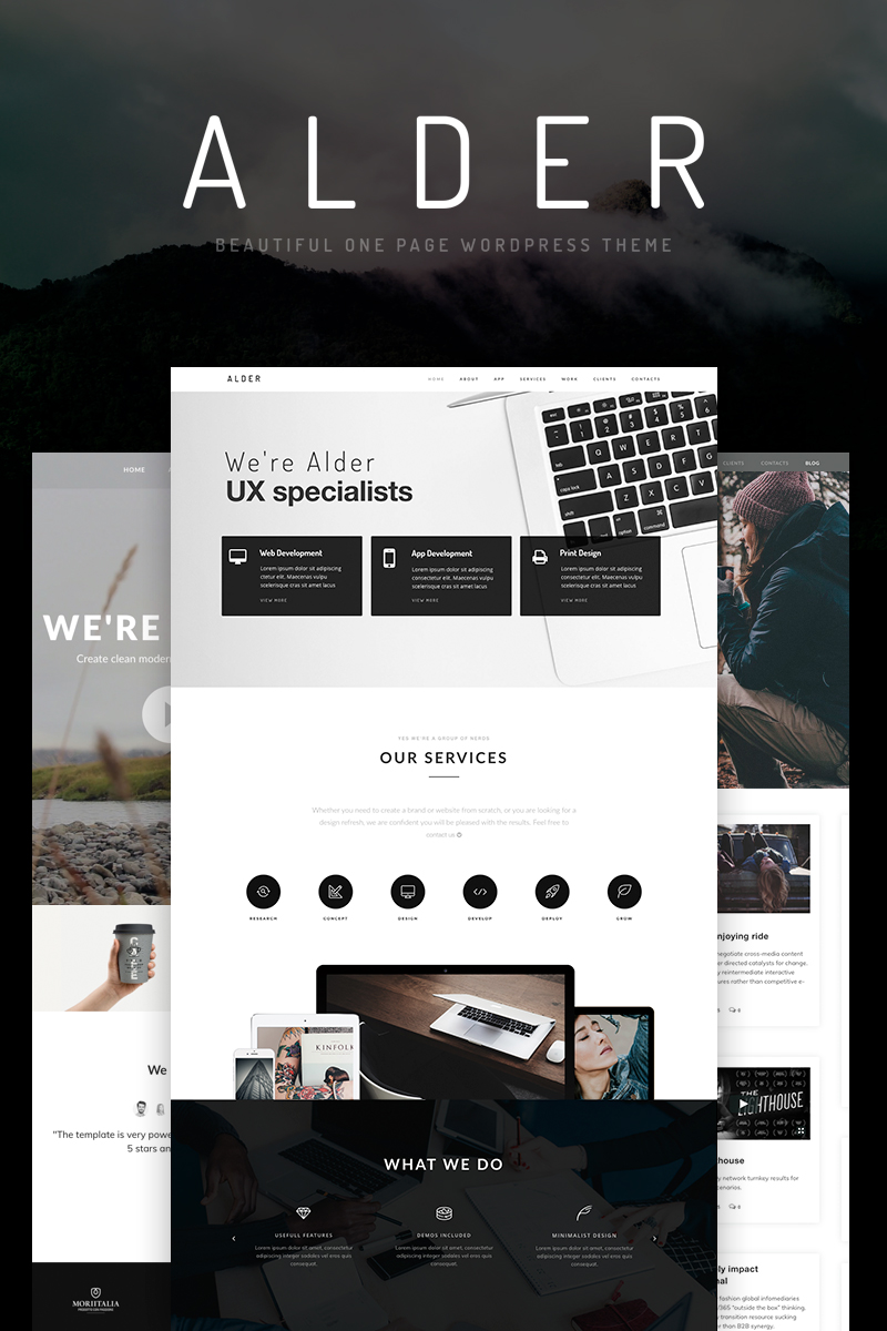 "Responzivní WordPress motiv ""Alder - OnePage"" #65922"