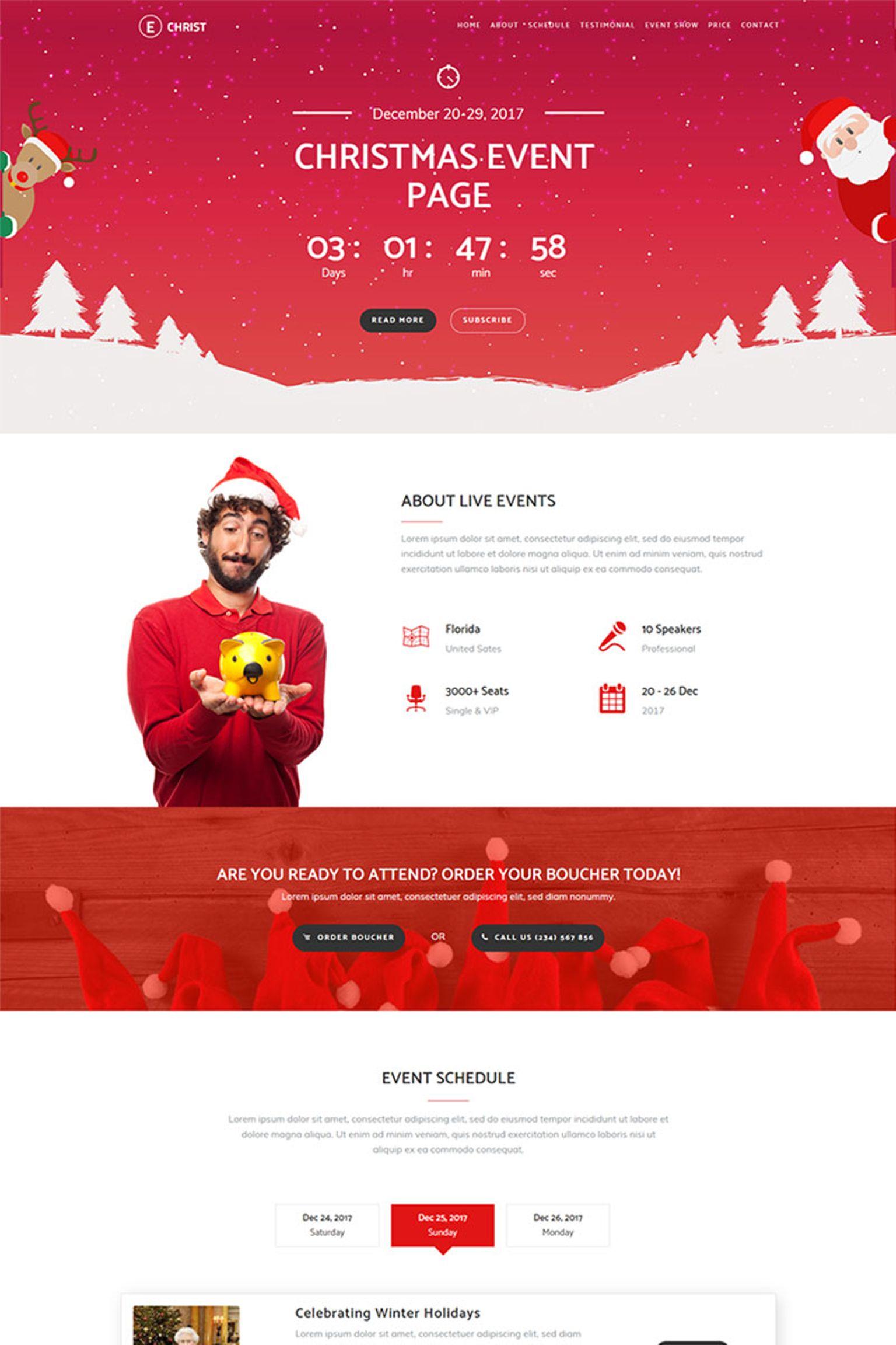 Reszponzív Echrist - Christmas Event Nyítóoldal sablon 65920