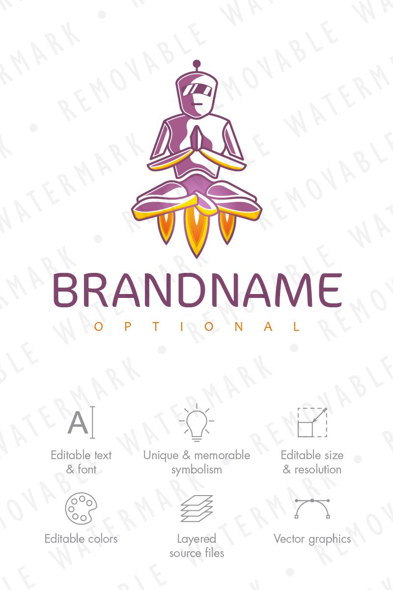 robot meditation logo template 65941