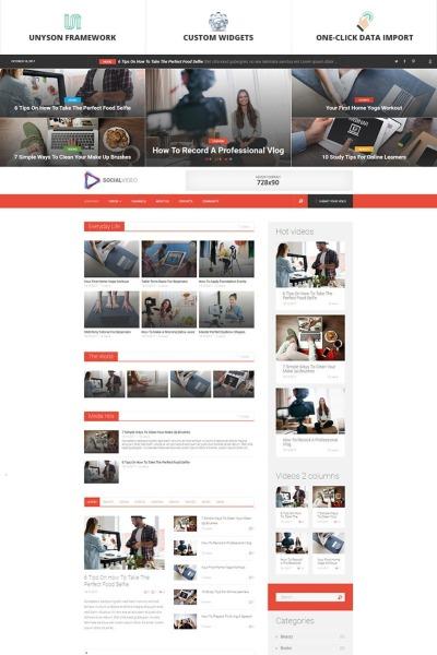 SocialVideo - Viral Youtube And Vimeo Video Magazine WordPress Theme #65927
