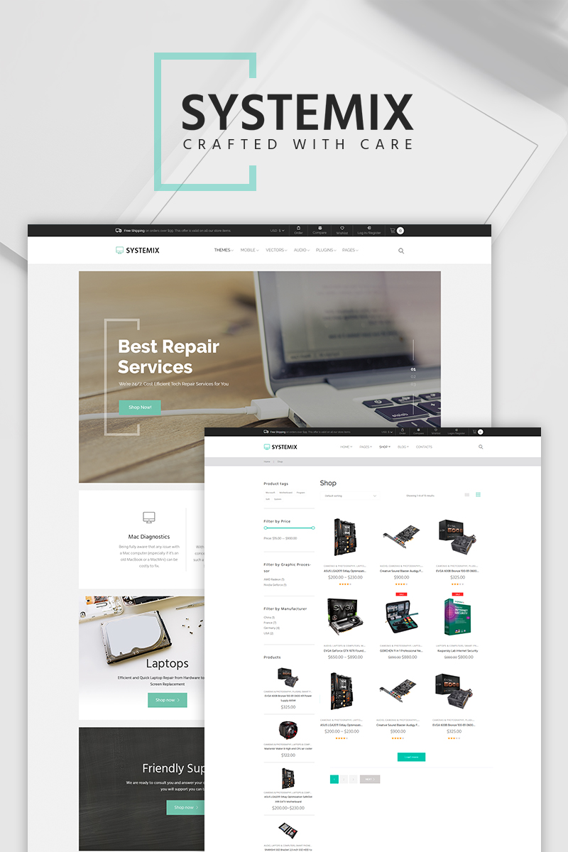 """Systemix - Computer Repair"" WooCommerce Thema №65969"