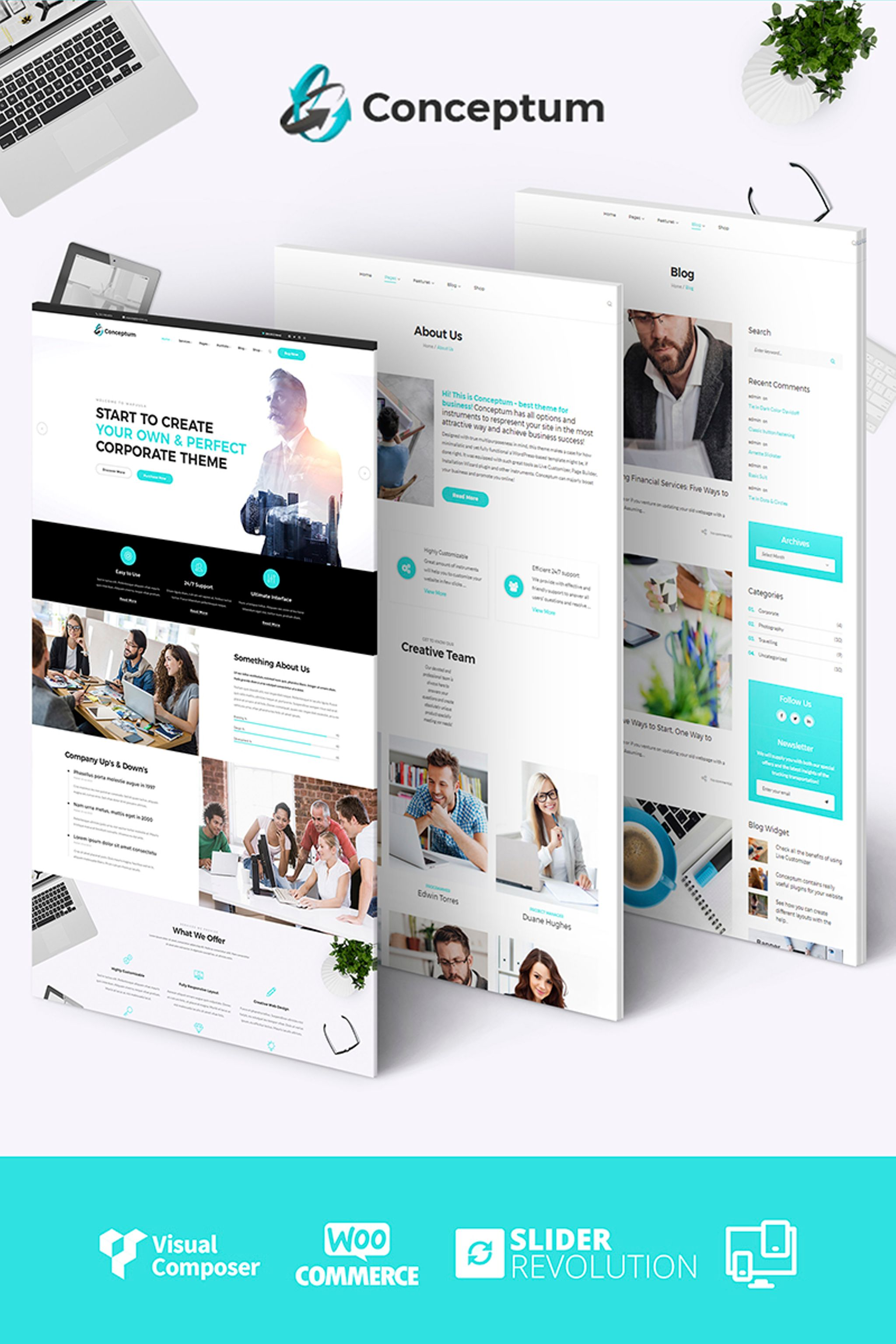 "Tema WordPress Responsive #65934 ""Conceptum - Corporate Responsive"""