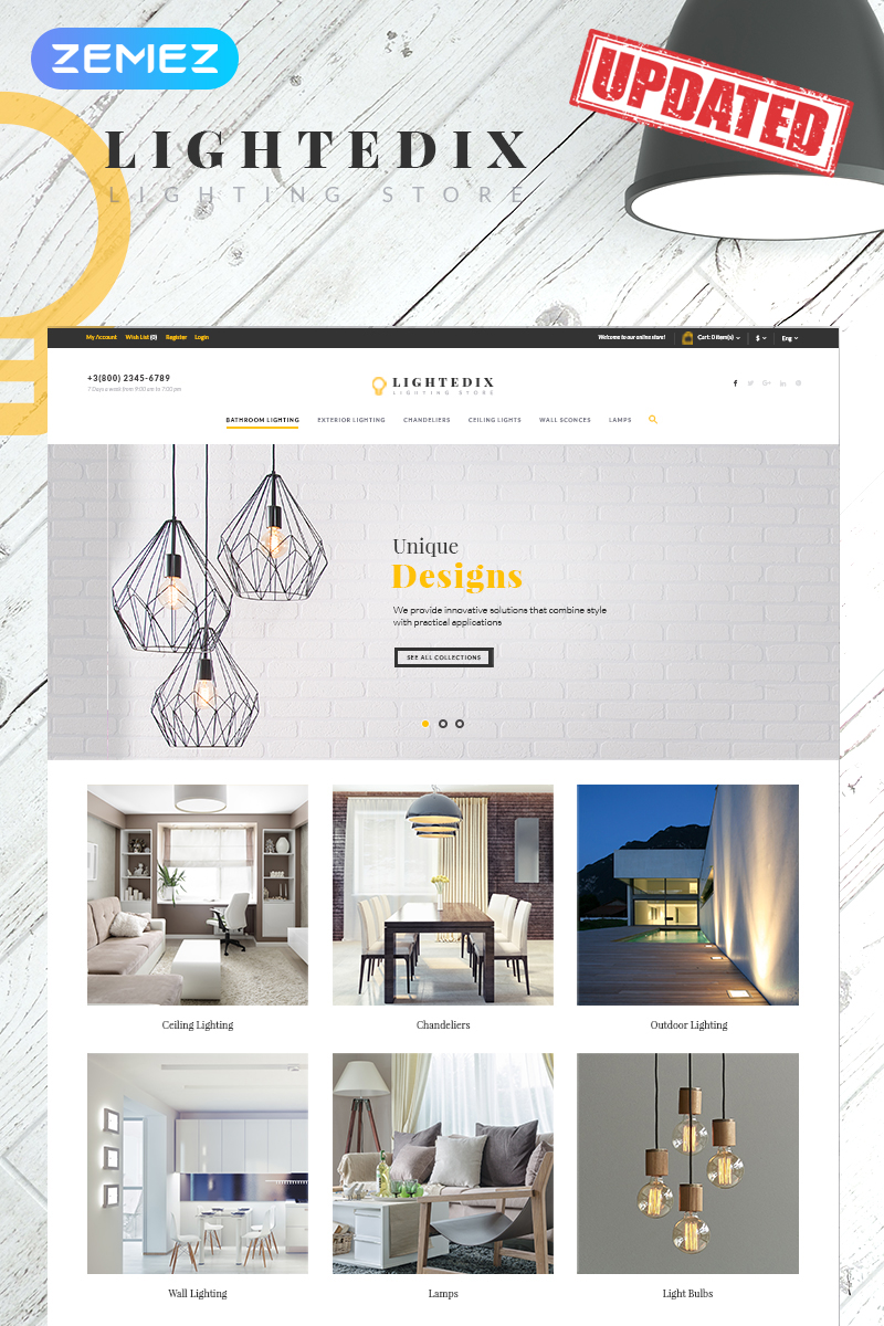 "Template PrestaShop Responsive #65929 ""Lightedix - Lighting Store"""