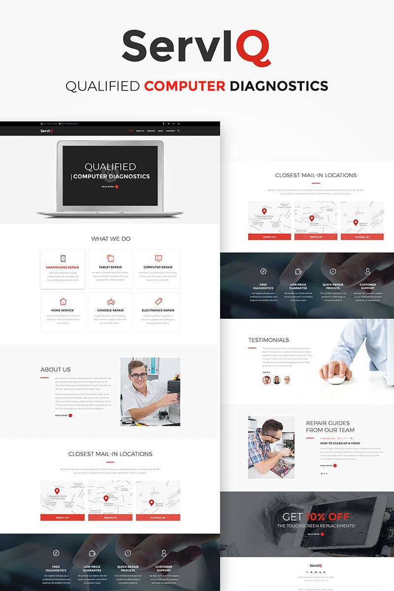 "WordPress Theme namens ""ServIQ Computer Repair Services"" #65928"