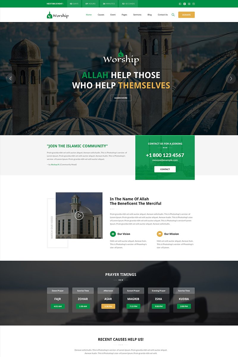 Worship - Islamic Center Bootstrap HTML Website Template