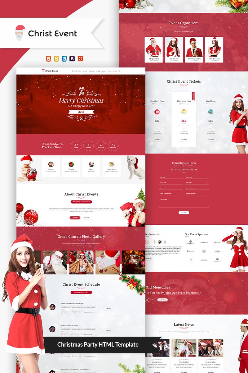 Website Design Template 66092 - camp event live html meeting christ christmas holiday sale newyear 2018 responsive offer xmas ticket gift santa webstrot festival