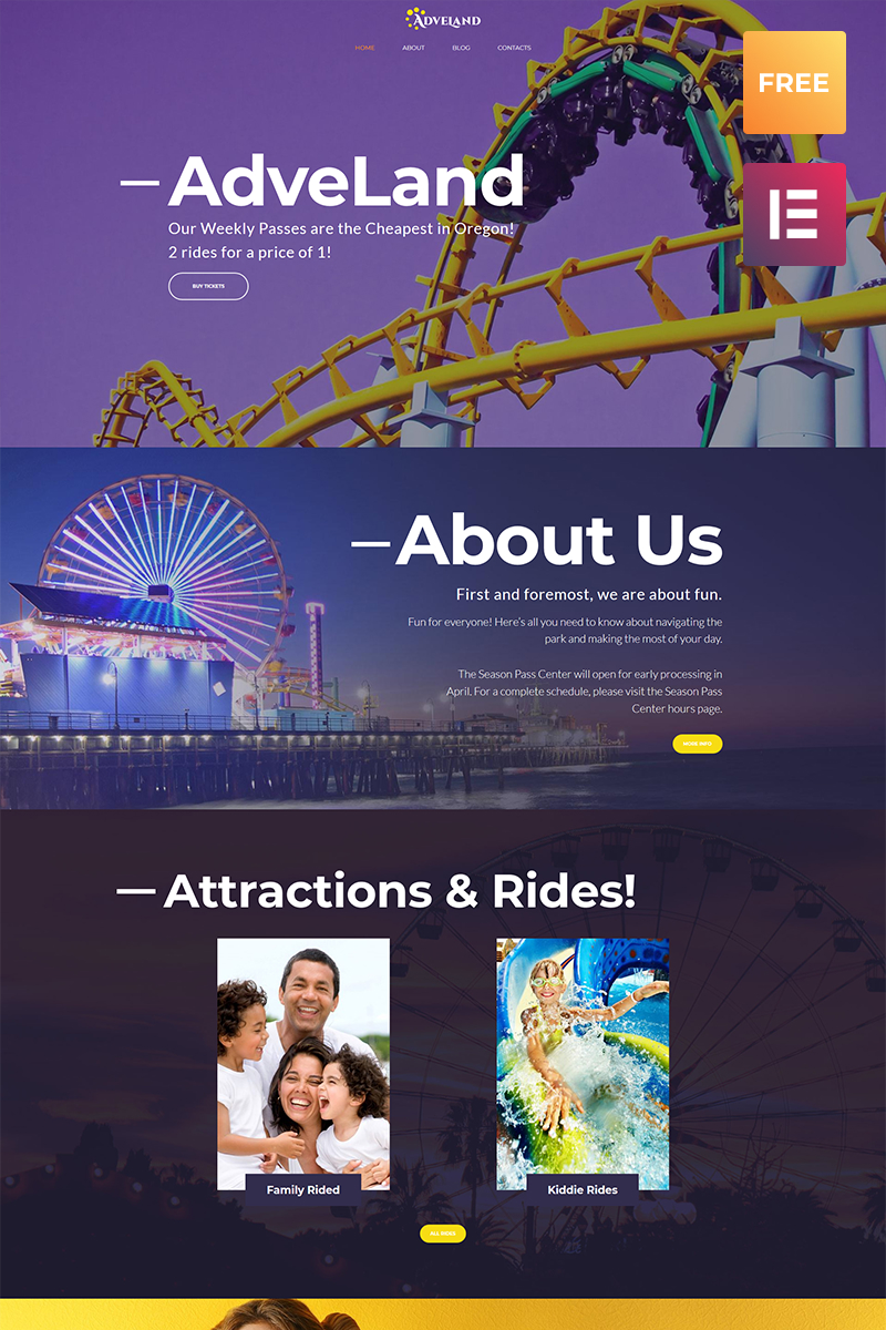 """Adveland Amusement Park"" Responsive WordPress thema №66076 - screenshot"