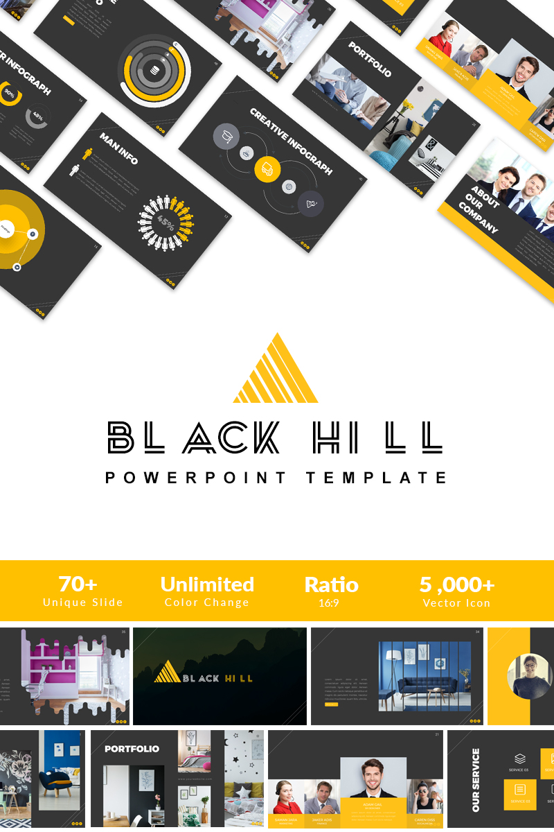 Black Hill Presentation PowerPoint Template - screenshot