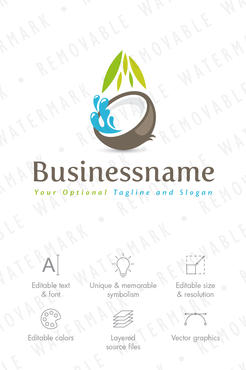 coconut water logo template 66038