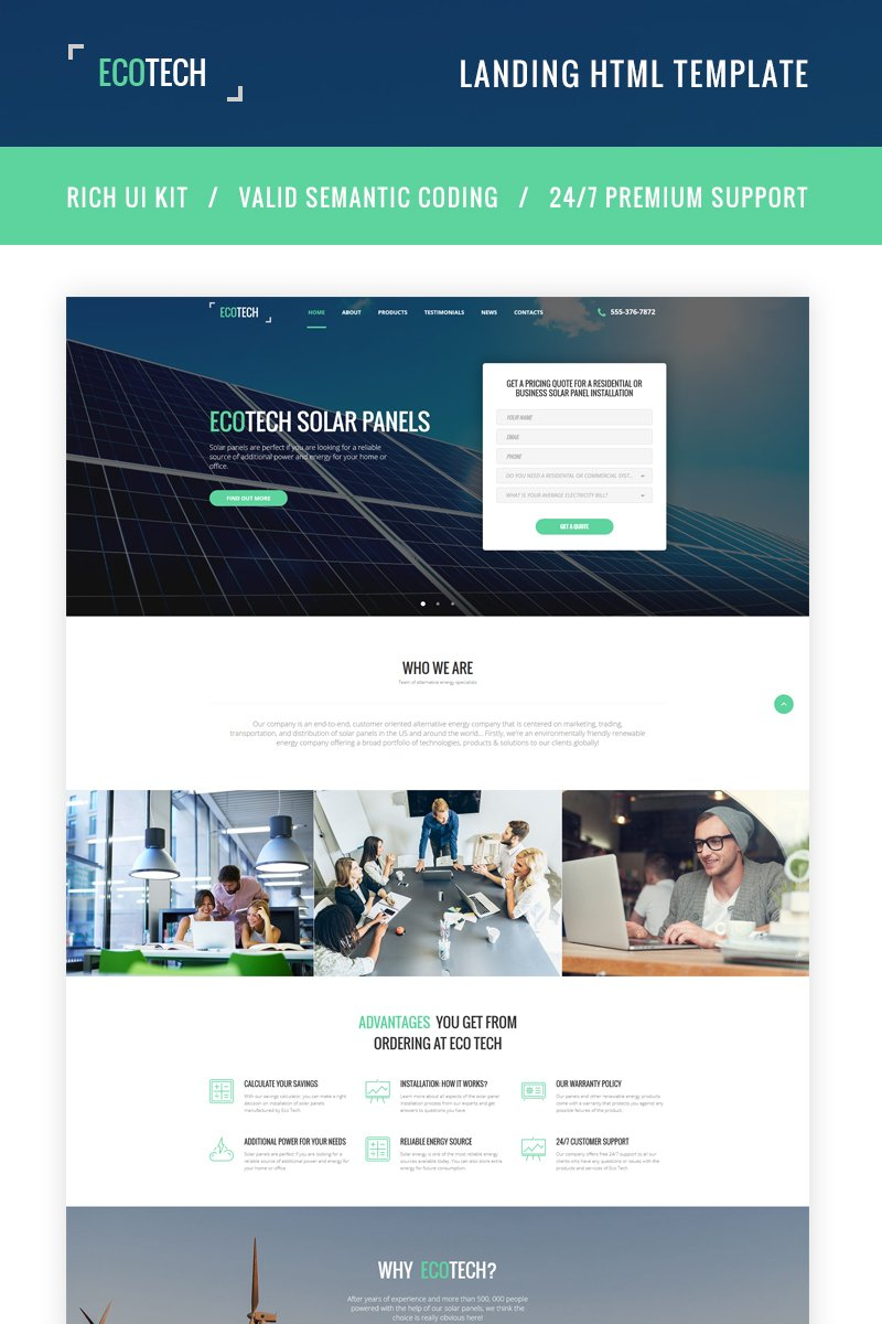Ecotech - Solar Energy HTML5 Landing Page Template