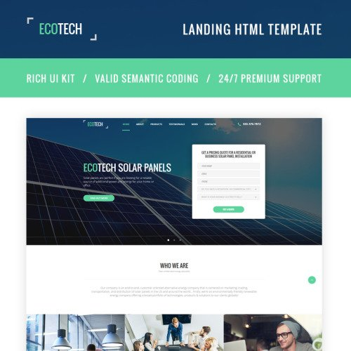 Ecotech - Solar Energy HTML5 - Landing Page Template based on Bootstrap