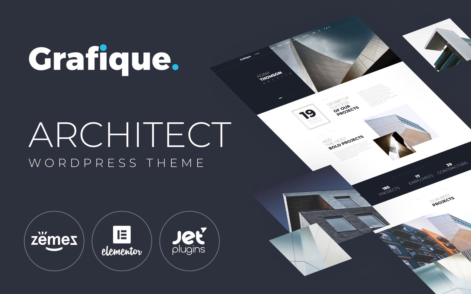 """Grafique - Architect"" 响应式WordPress模板 #66049"