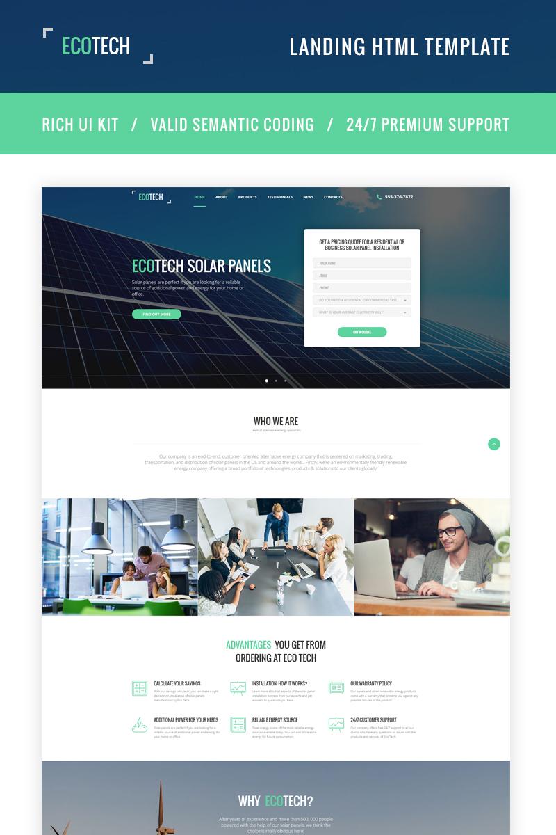 "Landing Page Template namens ""Ecotech - Solar Energy HTML5"" #66063"