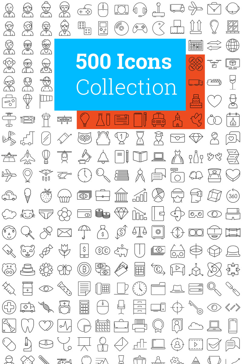 500 Modern Iconset Template